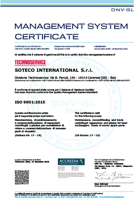 TECHNOSERVICE - ISO 9001 - soteco group