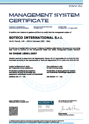 SOTECO INTERNATIONAL OHSAS 18001